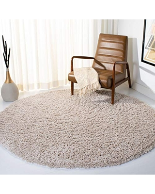 "Safavieh August Shag Collection AUG200D 1.5-inch Thick Area Rug, 6' 7"" Round, Beige"