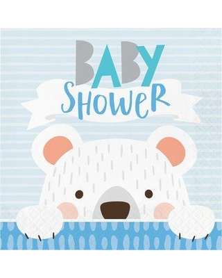 """The Holiday Aisle® Mchugh Bear Party Baby Shower 6.5"""" Paper Disposable Napkins, Paper in Blue/Green, Size 6""""H X 6""""W   Wayfair"""