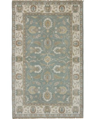 """One-of-a-Kind Ammerman Hand-Knotted 2010s Ushak Gray 4'10"""" x 7'11"""" Wool Area Rug Darby Home Co"""
