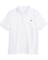Boy's Vineyard Vines Classic Pique Cotton Polo, Size 6 - White