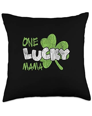 St. Patrick's Day Costume Apparel.USA One Lucky Mama St. Patrick's Day Mom Family Matching Mother Throw Pillow, 18x18, Multicolor