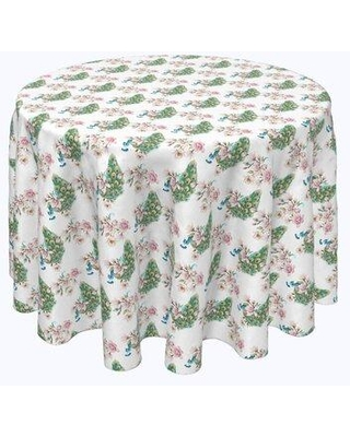 """Bloomsbury Market Vishwakarma Watercolor Peacocks and Flowers Tablecloth X113022560 Size: 96"""" x 96"""""""