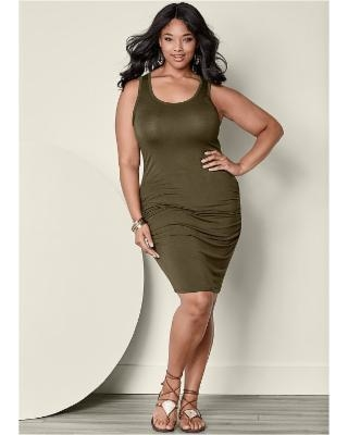 """Plus Size Ruched Tank Dress Dresses - Green"""