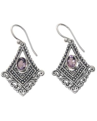 Artisan Crafted Amethyst and Sterling Silver Dangle Earrings