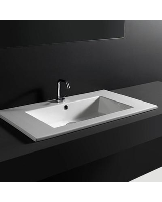 Ws Bath Collections Ceramic Rectangular Drop In Bathroom Sink With Overflow 96 Ws32401k
