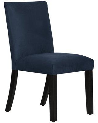 Wayfair Custom Upholstery™ Connery Upholstered Dining Chair CSTM1864 Body Fabric: Premier Navy Leg Color: Black Wood