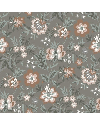 MANHATTAN COMFORT INC Wheatland Athena Grey Floral Paper Strippable Wallpaper Roll (Covers 56.4 sq. ft.)