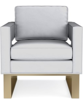 Minato Occasional Chair, Standard Cushion, Como Leather, Grey, Antique Brass
