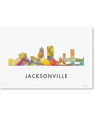 """Trademark Art 'Jacksonville Florida Skyline WB-1' Graphic Art on Wrapped Canvas MW0376-C Size: 22"""" H x 32"""" W x 2"""" D"""