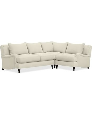 Carlisle Upholstered Left Arm 3-Piece Corner Sectional, Down Blend Wrapped Cushions, Premium Performance Basketweave Ivory
