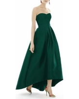 Strapless High/low Satin Twill Ballgown - Green - Alfred Sung Dresses