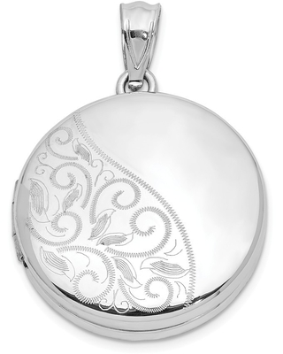 Holds 6 Photos 925 Sterling Silver Polished /& Patterend Scroll Oval Locket Charm Pendant