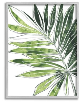 Stupell Industries Tropical Green Plant Expressive Palm Linework Grey Framed Wall Art, 11 x 14, Design by June Erica Vess