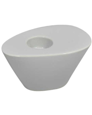 Sagebrook Home 13062-07 Oval Wedge Tealight Candle Holder, Ivory Ceramic, 6.25 x 4 x 3.5 Inches