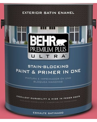 BEHR ULTRA 1 gal. #P150-5 Kiss and Tell Satin Enamel Exterior Paint and Primer in One