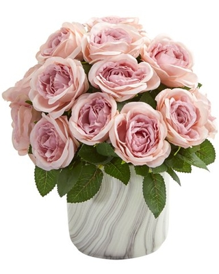Nearly Natural Rose Artificial Arrangement in Marble Finish Vase, Pink