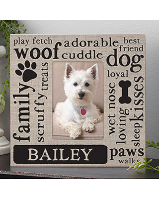 Happy Dog Personalized Box Picture Frame - Vertical