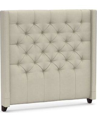 Harper Upholstered Tufted Tall Headboard with Pewter Nailheads, Queen, Premium Performance Basketweave Oatmeal
