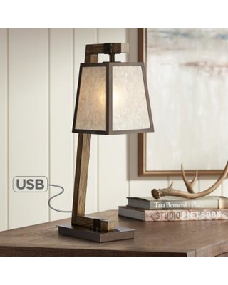 Amazing Deals On Tribeca Mica Shade Metal Table Lamp With Usb Port