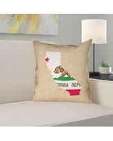 Don T Miss Sales On Brumit California Flag Pillow In Faux Suede Double Sided Print Throw Pillow East Urban Home Size 26 X 26 Color Brown Red Green