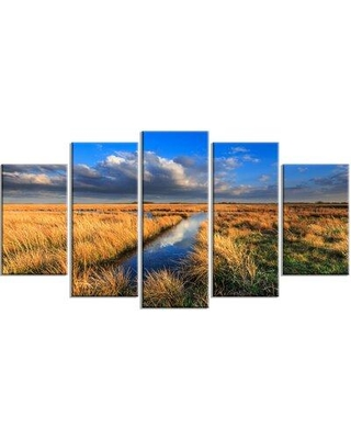 Design Art 'Meadow Land w/ Beautiful Skyscrapers' 5 Piece Photographic Print on Wrapped Canvas Set, Canvas & Fabric in Brown | Wayfair PT14799-373
