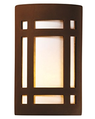 Justice Design Group Ambiance Collection 1-Light Wall Sconce - Real Rust Finish