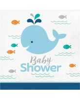 16ct Blue Baby Whale Baby Shower Napkins