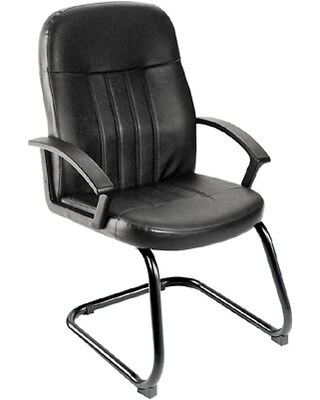 Norstar Boss B8109 Series Leather Guest Armchair, Black | Quill