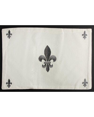 "Ophelia & Co. Alondra Fleur De Lis 18"" Cotton Placemat X112148217 Color: Gray"