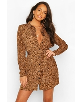 Womens Shirt Dress Animal Print - Brown - 4
