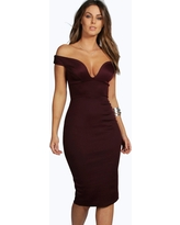 Womens Sweetheart Off Shoulder Bodycon Midi Dress - Red - 2