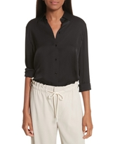 Women's Vince Slim Silk Blouse, Size Medium - Black