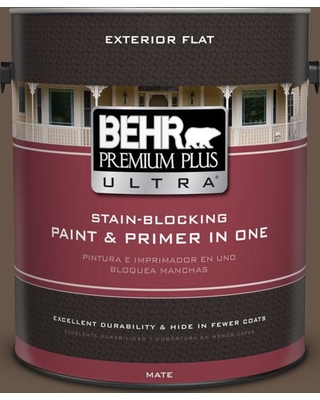 BEHR Premium Plus Ultra 1 gal. #bxc-79 Center Earth Flat Exterior Paint and Primer in One
