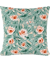 Green Floral Print Throw Pillow - Cloth & Co