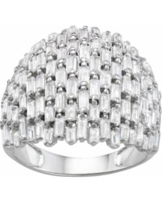 Sterling Silver Cubic Zirconia Baguette Dome Ring, Women's, Size: 6, White