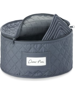 Quilted China Dinner Plate Storage Case, Gray