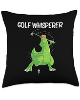 Cool Dino Golf Player Golfing Club Athlete Clothes Funny Gift for Men Women Golf Field Game Golfer Sports Throw Pillow, 18x18, Multicolor