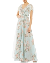 Mac Duggal Butterfly Sleeve Floral A-Line Gown, Size 2 in Blue Multi at Nordstrom