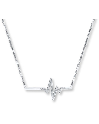 Heartbeat Necklace 1/15 ct tw Diamonds Sterling Silver