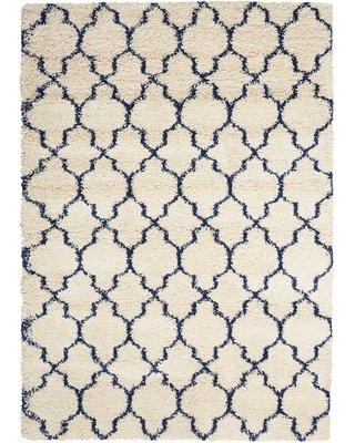 "Red Barrel Studio Linton Ivory/Blue Area Rug RDBL5213 Rug Size: Rectangle 3'2"" x 5'"