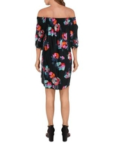 Laundry by Shelli Segal Womens Casual Dress Floral Print Cold Shoulders - Black/Multi