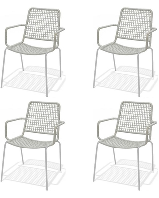 amazonia amazonia danube gray stacking metal outdoor dining chair 4 pack from home depot real simple