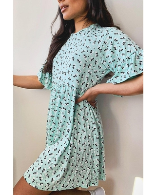 Womens Ditsy Floral Smock Dress - Green - 4
