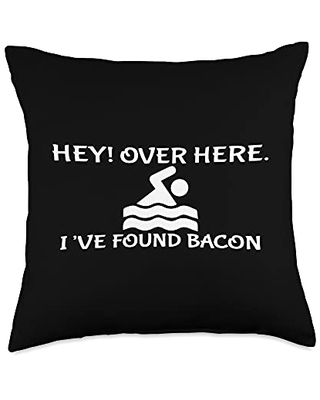 Hey Over Here I Found Bacon Funny Bacon Lover Throw Pillow, 18x18, Multicolor