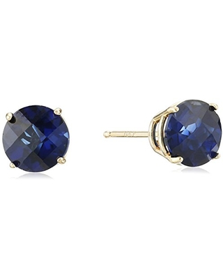 10k Yellow Gold Round Checkerboard Cut Created Sapphire Stud Earrings (6mm)