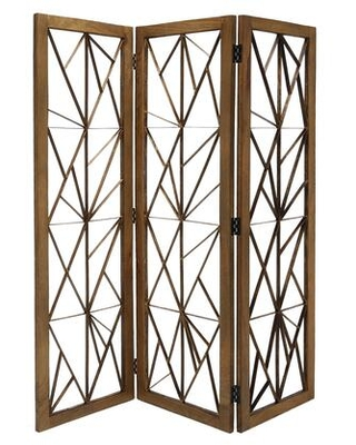 BM205789 Wooden Handcrafted 3 Panel Room Divider with Intricate Iron Design