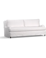 """Carlisle Slipcovered Grand Sofa 90.5"""" with Bench Cushion, Down Blend Wrapped Cushions, Twill White"""