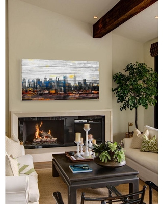 """Parvez Michel 30 in. H x 60 in. W """"New York Colors"""" by Parvez Taj Printed White Wood Wall Art, Multi-Colored"""