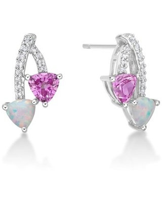 Brilliance Fine Jewelry Sterling Silver Created Opal, Created Pink Sapphire and Created White Sapphire Bypass Earrings
