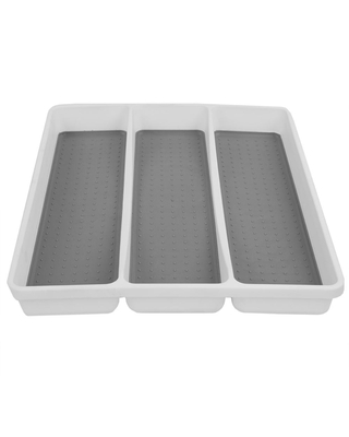 HDS TRADING CORP. 13 in. x 15.87 in. x 1.62 in. White Large Utensil Tray with Rubber Liner